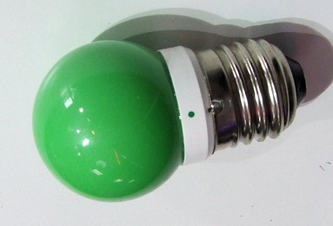 Lampada a sfera led colore verde coppia 2 watt a 220v e27