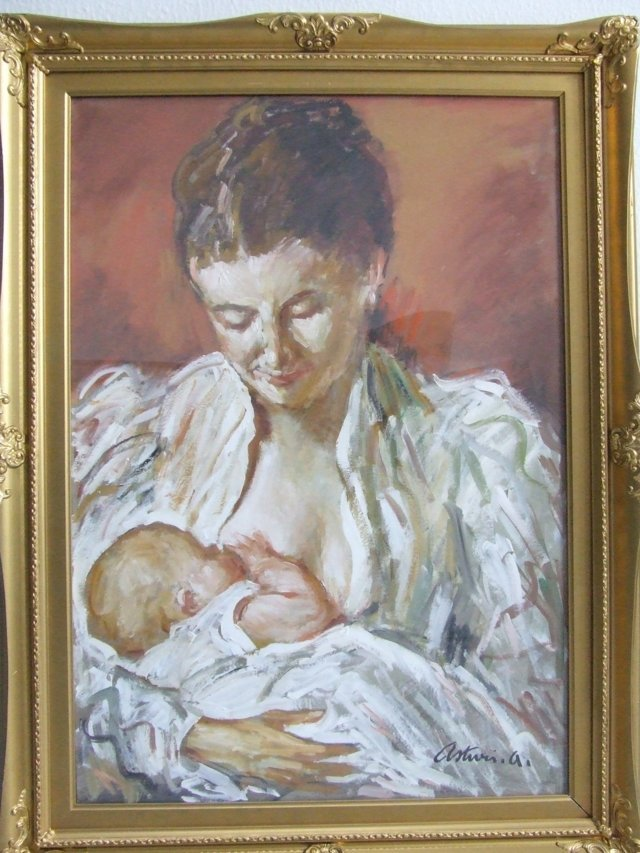 "ASTURI ANTONIO ""MOTHERHOOD"" TEMPERING ON CARDBOARD 70 X 50"