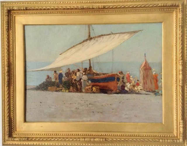 "CAPRILE VINCENZO ""BOATS AT POSITANO"" OIL ON BOARD 36 X 51"